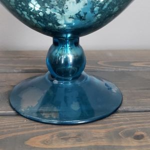 None Accents - Decorative blue, white, silver glass footed dish